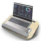 FASCINATE Laptopkissen für Bett, Laptoptisch, Laptopunterlage, Gepolsterter Unterlage & Anti-Rutsch, Laptopkissen für max 16 Zoll Notebook, inkl. Tablet- und Telefonhalter