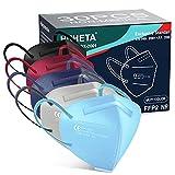 HUHETA FFP2 Maske Bunt, 30 Stück, CE 0598 Zertifiziert, 5-Lagen-Atemschutzmaske mit verstellbarem Gummiband und anpassbarem Nasenbügel