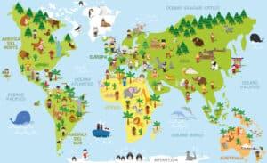 Eine Weltkarte als Fototapete im Kinderzimmer kann auch pädagogisch sinnvoll sein. Foto asantosg via Depositphotos